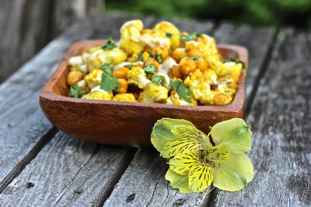 Curry Spice Roasted Cauliflower and Chickpeas