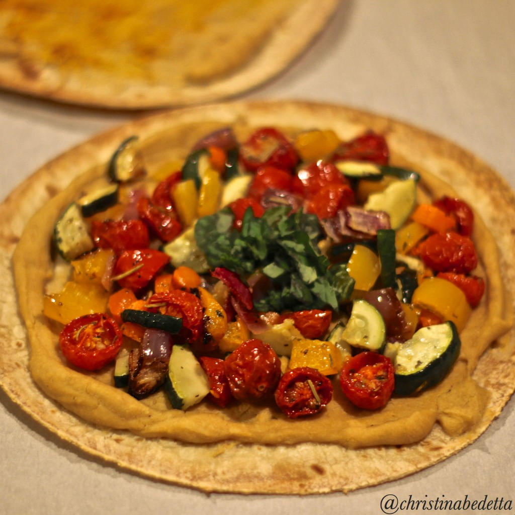 Hummus Tortilla Pizza