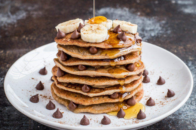 Banana Chocolate Chip Protein Pancakes